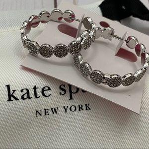 Kate Spade Silver Clear Gatsby Dot Hoop Earrings